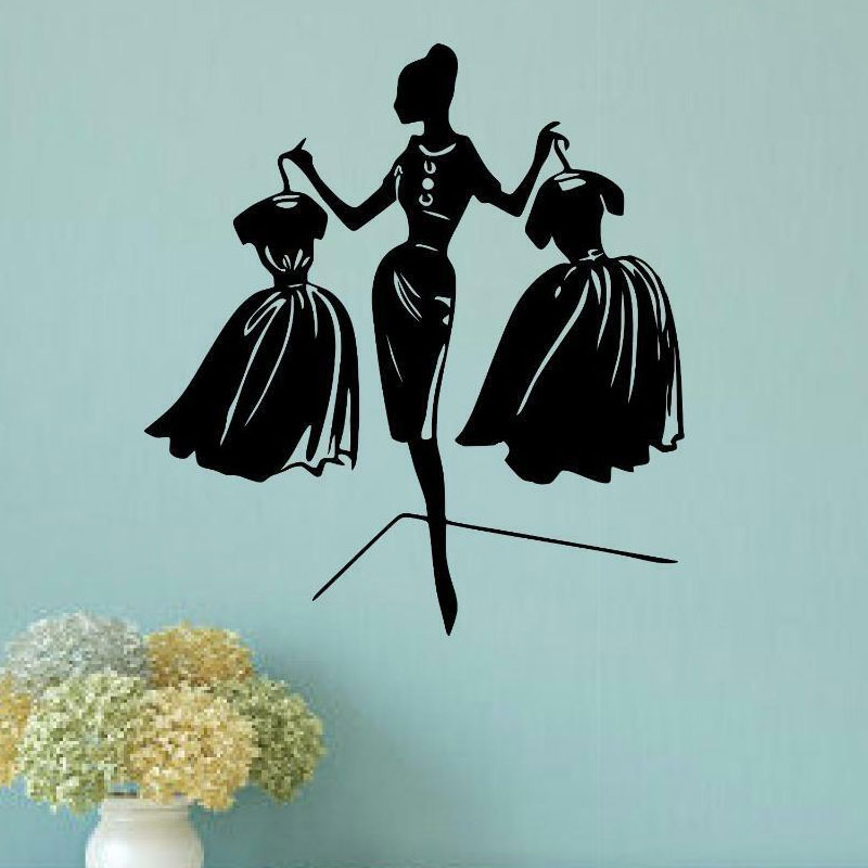 Elegant fashion woman shopping vinyl wall stickers clothing shop window shopping mall decorative painting wallpaper MV04 in Wall Stickers from Home Garden