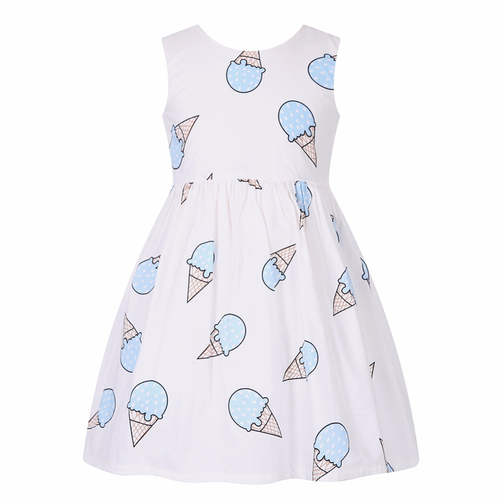 Toddler Dress Robe Enfant Ice Cream Print Dress Princess Costumes for Children 2017 Brand Girls Summer Dresses Kids Clothing new girls dress brand summer clothes ice cream print costumes sleeveless kids clothing cute children vest dress princess dress