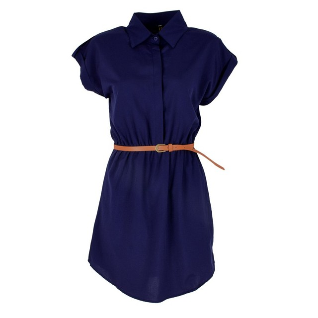 2017 Fashion Women's Short Sleeve Stretch Chiffon Casual OL Belt Mini Dress blusas mujer vestido de festa	Women's clothing