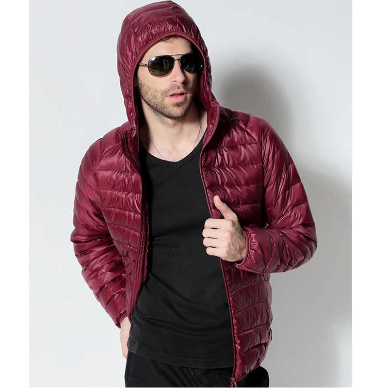 남자 화이트 오리 자켓 2020 새로운 휴대용 후드 코트 초경량 남자 겨울 코트 따뜻한 열 다운 파커 4XL 5XL 6XL