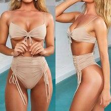 Women Sexy Bikini Bandage Solid High Waist Bikini Chest Padded Swimwear Women Swimsuit maillot de bain femme bikini 2019 biquini sexy high waist women bikini set 2019 solid cross bandage halter snake swimsuit new swimwear maillot de bain brazilian biquini