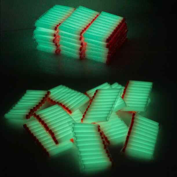 40pcs Fluorescence Toy  Gun Luminous Bullets for Nerf Series Blasters Refill Clip Darts EVA Soft Bullets glow in the dark
