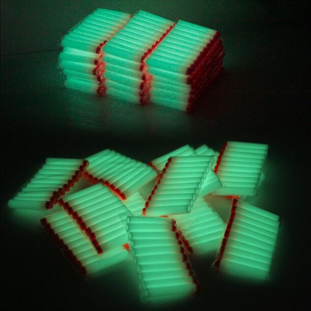 40pcs Fluorescence Toy Orbeez Gun Luminous Bullets for Nerf Series Blasters Refill Clip Darts EVA Soft