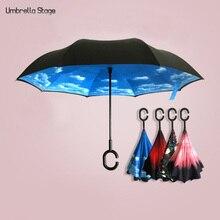 1 unid C Paraguas Forma Inversa Plegable de Doble Capa A Prueba de Viento Paraguas Invertido Abrir/Cerrar En El Estrecho Espacio Creativo gráfico