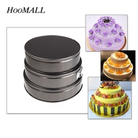 Hoomall 3Pcs Set 24 26 28cm Bottoming Pan Metal Cake Mold Sets Non Stick Mousse Birthday