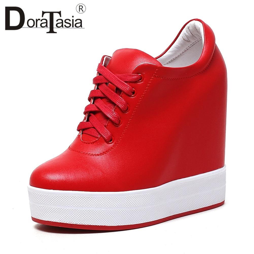 blanc Chaussures Plate rouge Croissante Sneakers up forme Talons En Automne Femmes Femme Haute Hauteur 31 Véritable Cuir Doratasia Qualité Dentelle 40 2019 Noir 6Cq7B