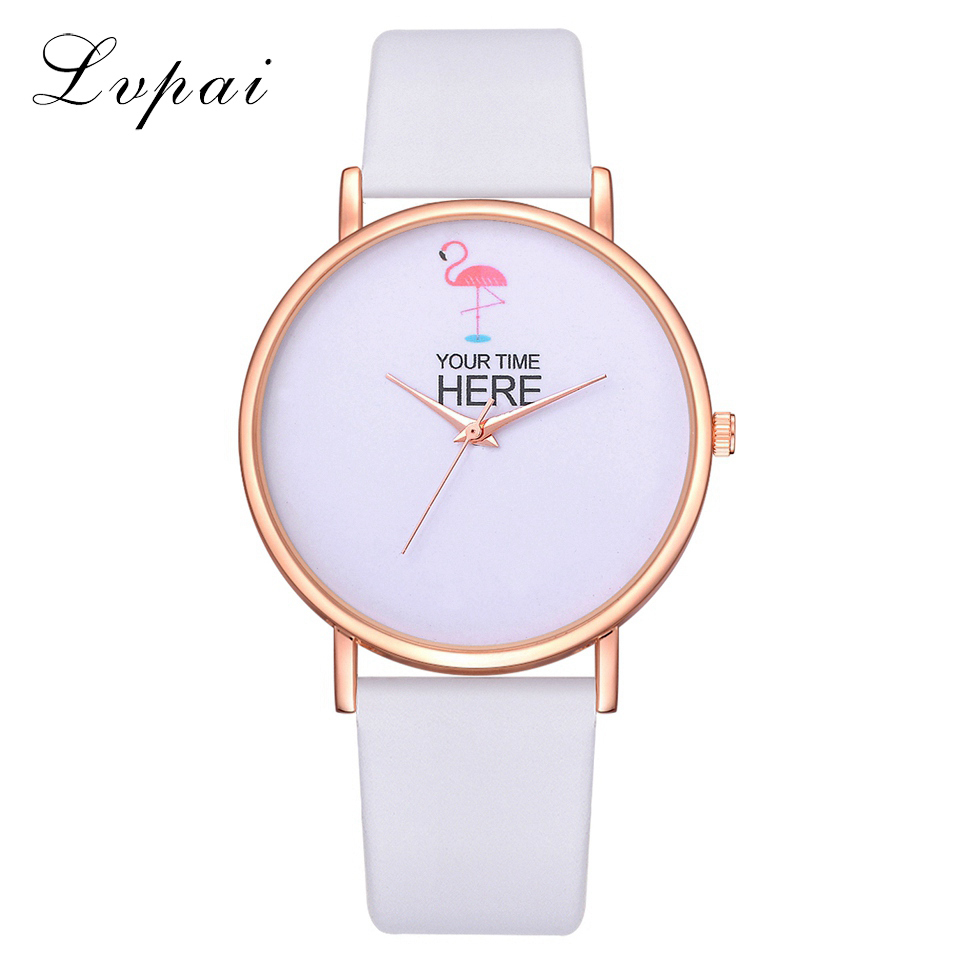 Lvpai Brand Fashion Women Pink Flamingo Watch Luxury Leather Creative Design Dial Quartz Watch Relogio Feminino Drop Shipping
