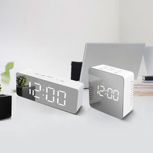 LED Mirror Table Lamps Digital Time Temperature Display Clock With Snooze Wakeup Function Electronic LED Alarm Clock Night Light(China)