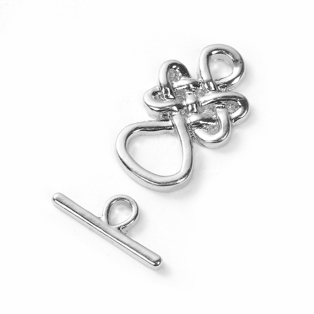 DoreenBeads Zinc Based Alloy Silver Gold Color Toggle Clasps Knot Pattern 23mm X14mm, 18mm X7mm( 6/8