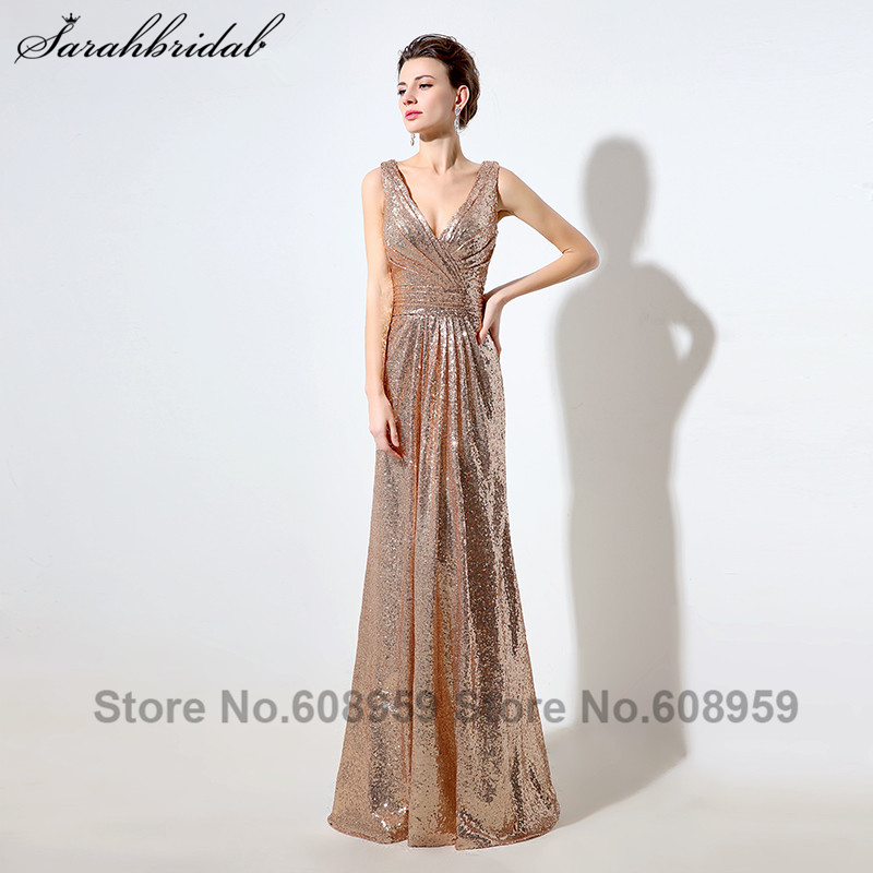 Luxury Sequined Evening Dresses Real Photos V-neck Pleated Long Wedding Occasion Party Gowns Vestidos De Noche  SD349