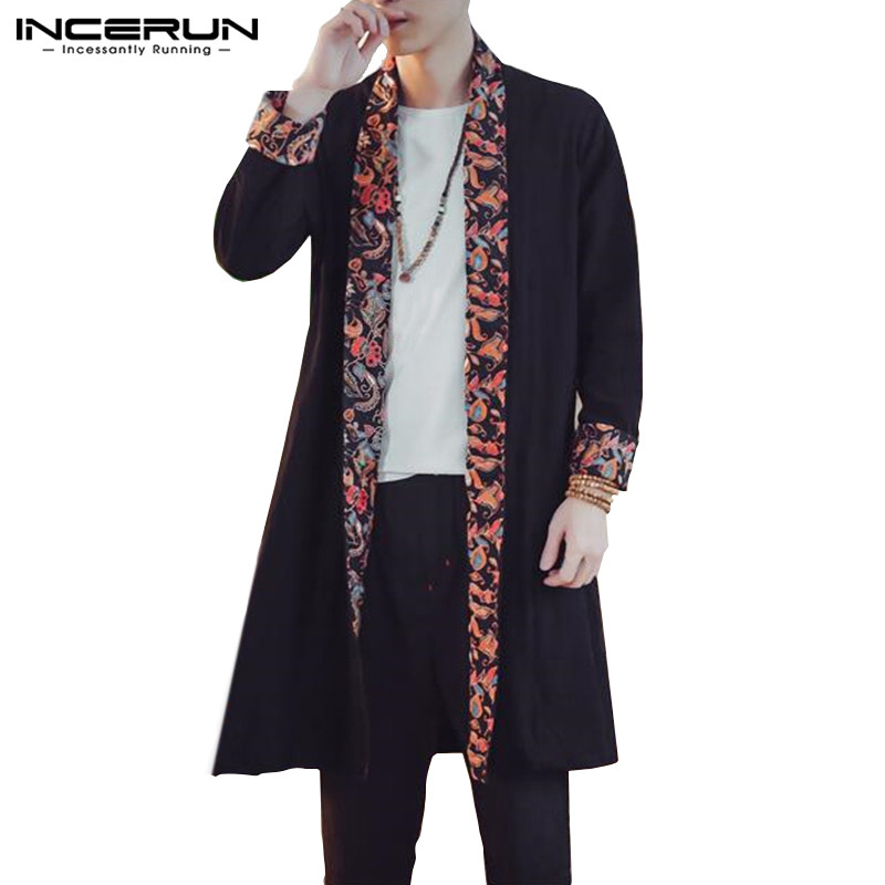INCERUN 2019 Cotton Linen Men   Trench   Coat Long Sleeve Floral Patchwork Chinese Style Outwear Casual Long Cloak Cardigan Men 5XL