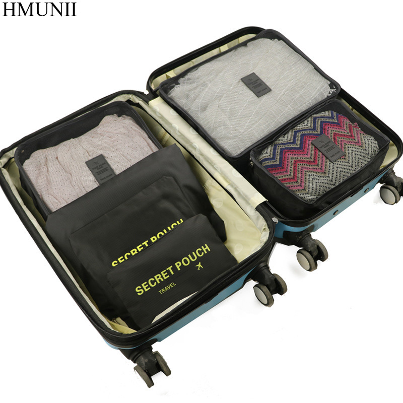 HMUNII 6 Pz/set di Alta Qualità Tessuto oxford Viaggi Mesh Bag In Bag Deposito Organizer Imballaggio Cube Organizer per Abbigliamento C1-06