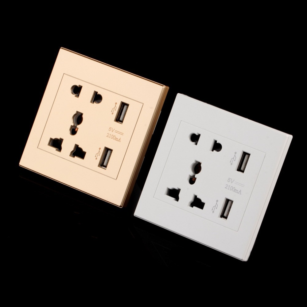 Dual USB Port 5V 2100MA Electric Wall Charger Port Dock Socket Power Outlet Electricity AC Power Panel Plate Gold Color