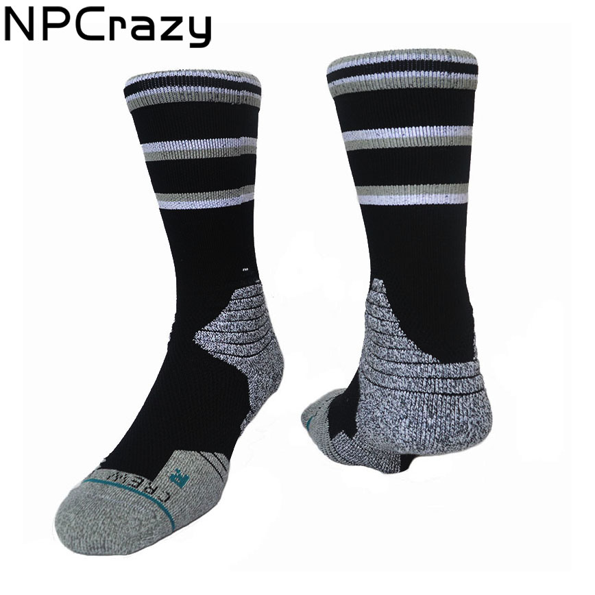 San Antonio Black Gray Basketball Socks Terry Anti-friction Compression Socks Tim Duncan Kawhi Leonard Crew Sox Sports