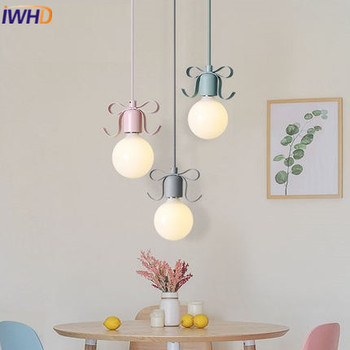 IWHD Modern Pendant Light Lamp LED Simple Color Iron Hanging Lamp Home Lighting Fixtures Restaurant Bedroom Kitchen Hanglamp