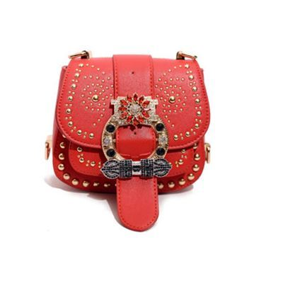 ФОТО Newest luxury style rhinestone rivet designer lady's handbag small rivet 3 layers crossboday diamonds saddle shoulder bag