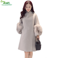 KULAZOPPER Fashion Fur Sleeve Autunm Winter Women Jacket 2018 New Wool Coat Slim Outwear For Female