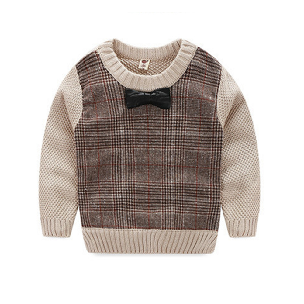 Autumn Baby Boys Casual Sweater Girls O-Neck Bowknot Knitted Sweaters Kids Knit Loose Top Brown Pullover for Children 1-3 Years
