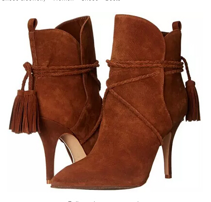 New arrival brown suede leather high heel ankle boots pointed toe fringe ankle wrap women bootie size 34 to 42 party dress shoes apoepo new arrival suede leather high heel ankle boots pointed toe fringe ankle wrap women bootie size 35 to 41 party dress shoe
