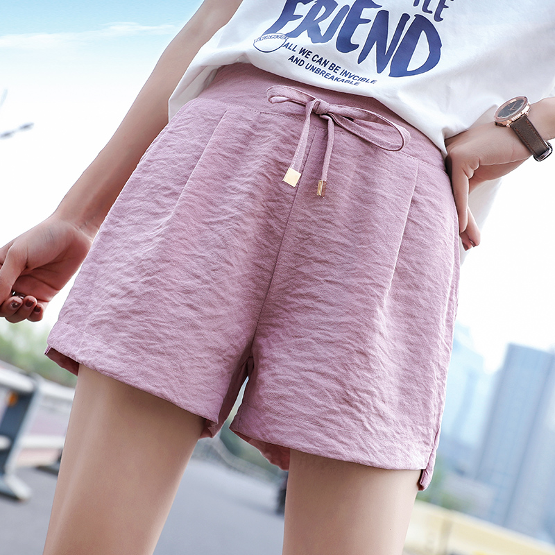 Women Shorts Solid  Elastic Waist New High-Waisted Fairy Loose Leisure Shorts For Summer 2019 Three Colors Size S-4xl Hjh