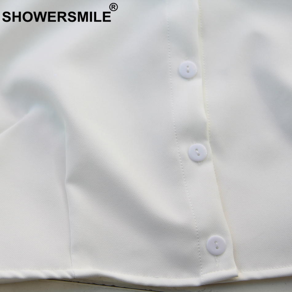 SHOWERSMILE White Fake Collar Women Solid Shirt Detachable Collar Removable Elegant Blouse Fashion Ladies Clothes Accessories