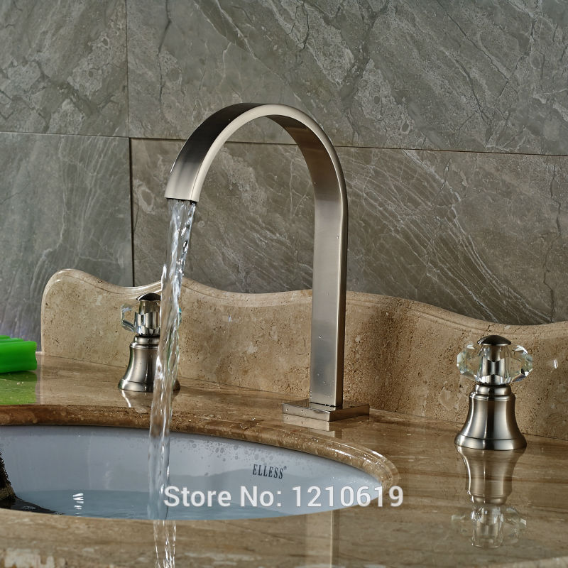 Newly Waterfall Basin Faucet Mixer Tap Nickel Brushed Sink Faucet Cold&Hot Water Tap Crystal Handles hot facial beauty skin care health beauty instrument ph 1 equipment ultrasonic whitening anti acne pimples aging wrinkles r