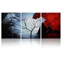 Fait à la main Peinture Abstraite Moderne foncé rouge noir nuages Arbre Mur Décor Paysage Toile art photo pour salon décoration