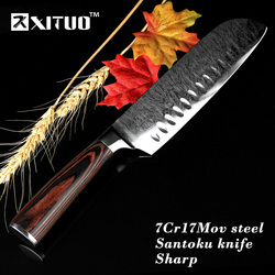 XITUO Anti-stick Meat Wishful Pattern Japanese Santoku Knife Kitchen Imitative Damascus Chef Knives 7Cr17mov Steel Cooking Tool