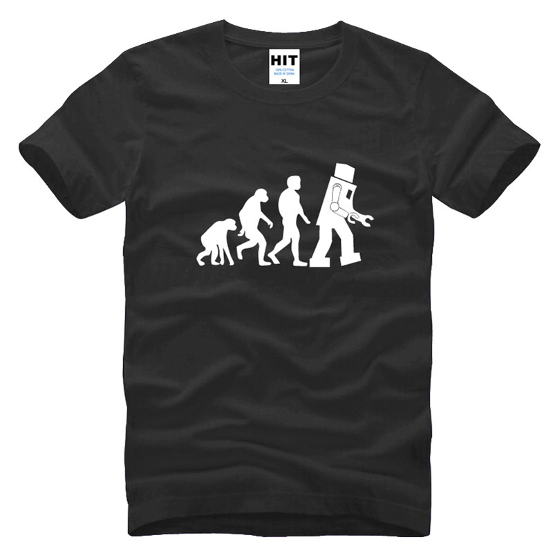 The Big Bang Theory T Shirt Robot Evolution Printed Sheldon Funny T-shirt 2016 Mens Men Cotton Tee Camisetas Hombre