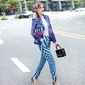 2017 Primavera Runway Designer Brand Pantalones Conjunto de Las Mujeres Elegantes de Largo Impresión de la manga de la Chaqueta y Pantalones Largos Conjunto Traje de Oficina de Trabajo trajes