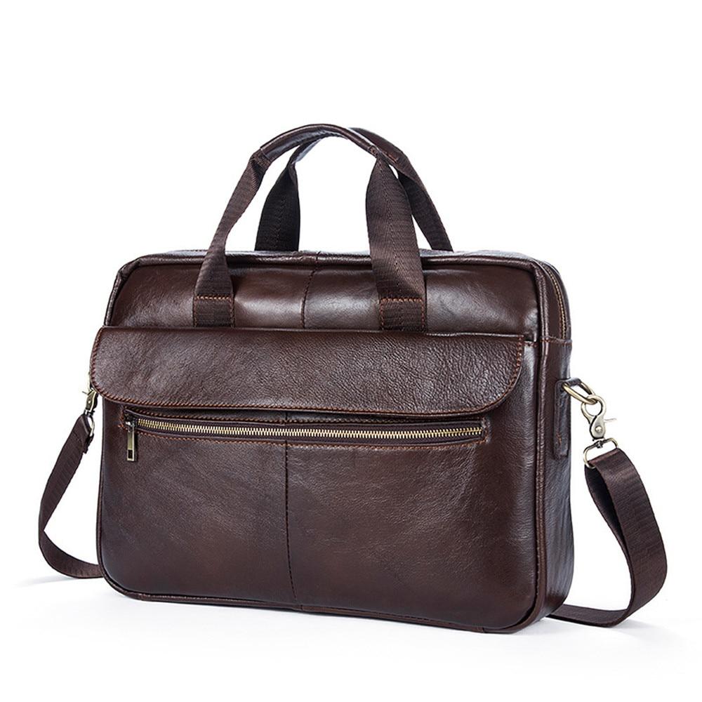 все цены на 2018 Men Vintage Business Briefcase Cow Leather 14 inch Computer Handbag Shoulder Messenger Bag for Travel School Work онлайн