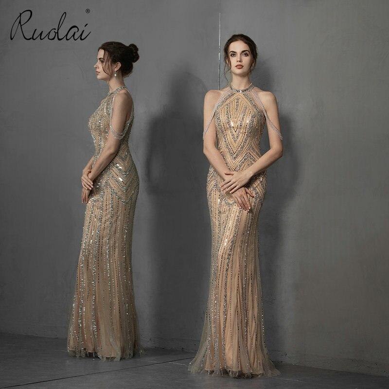 Luxury Beading Gold Color Evening Dress Halter Floor Length Women Long Party Gown vestidos de fiesta noche