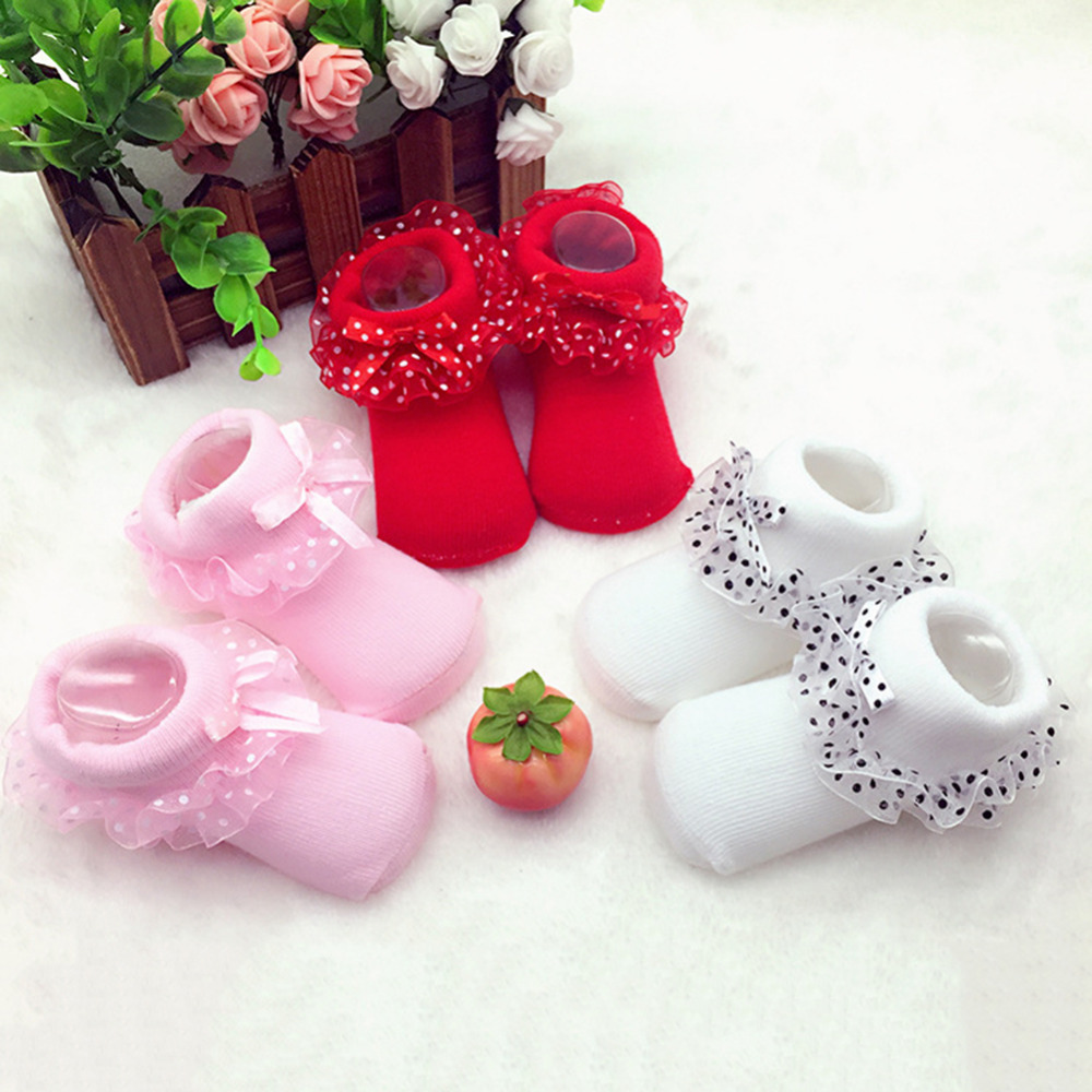 1 Pair Infant Girls Cotton Lace Ankle Socks Soft Fabric Breathable Comfortable Princess Socks for 0-12Months Baby Girls
