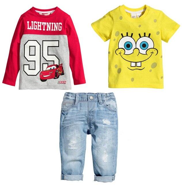 summer baby boys car t shirt spongebob t shirt jeans three piece