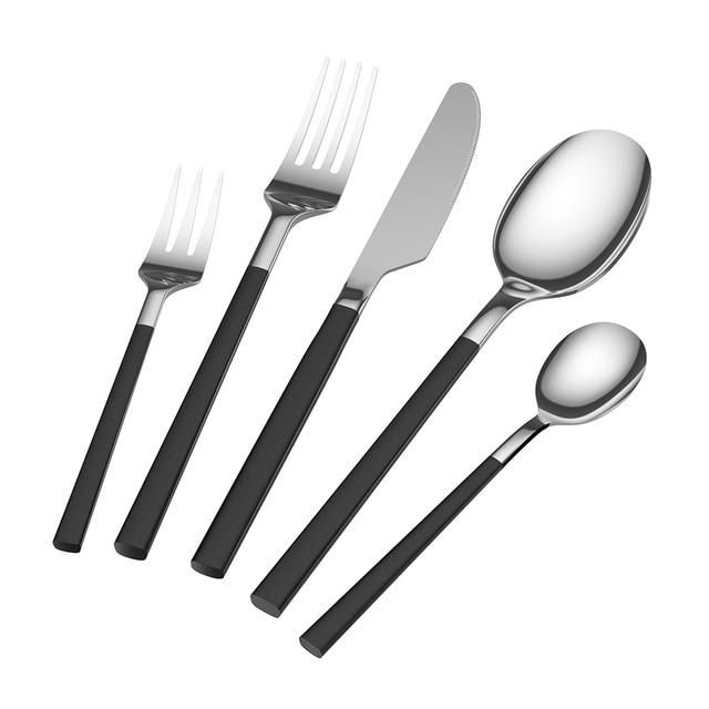 5PCS Cutlery Flatware Set Dinner Knives Fork Spoon Set Stainless ...
