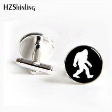 HZShinling 2017 New Design Ape man Cufflinks Handmade Round BIGFOOT Cuff Link Glass Dome Art Photo I love Apes Cufflink for men(China)