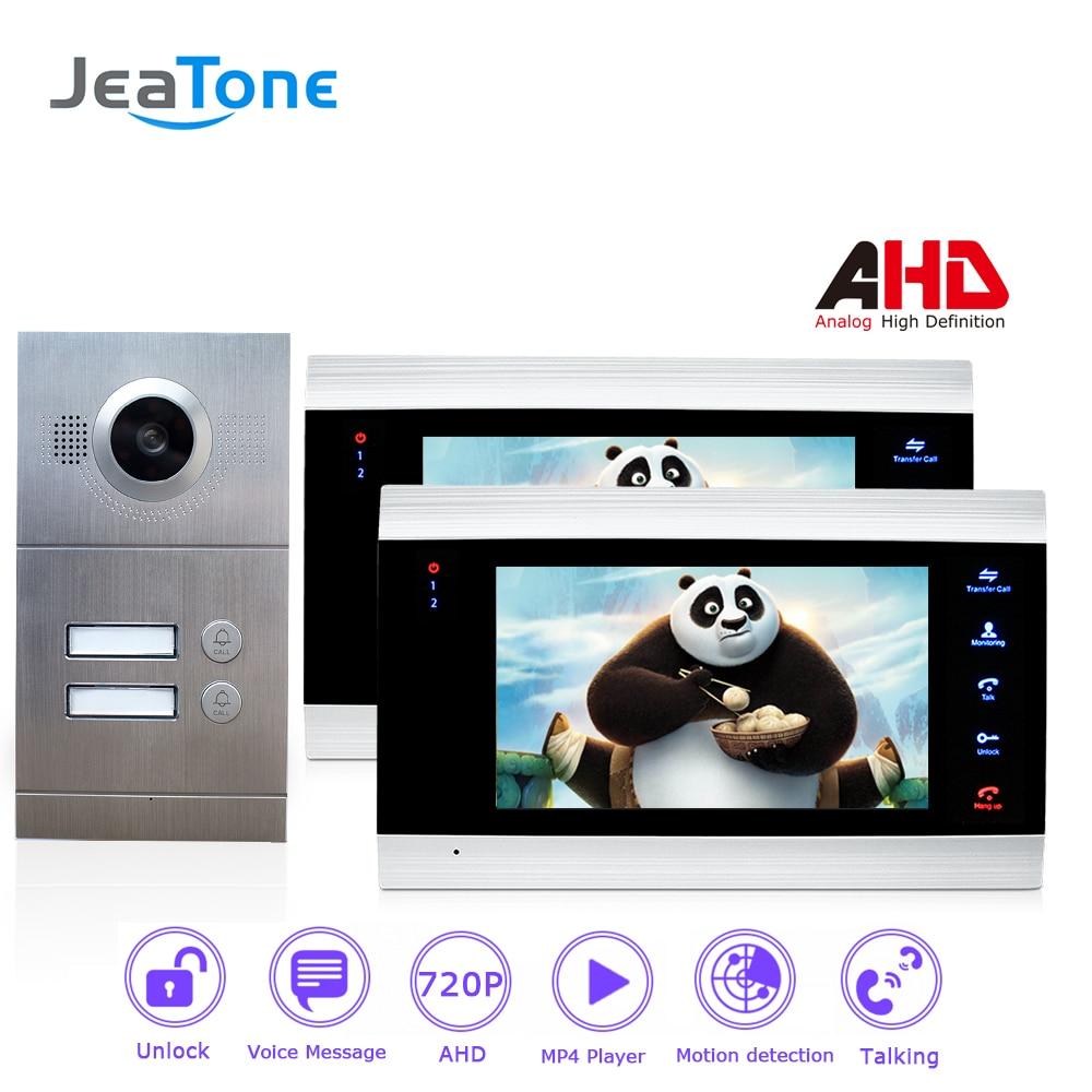 720P/AHD 7'' Video Door Phone Intercom 4-Wired Door Bell Door Speaker Security System Voice Message/Motion Detection 2 Apartment