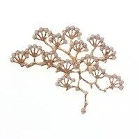 Moda jóias acessórios de moda de Nova white pearl prata pinho ginkgo ouro broche pin Broches     -