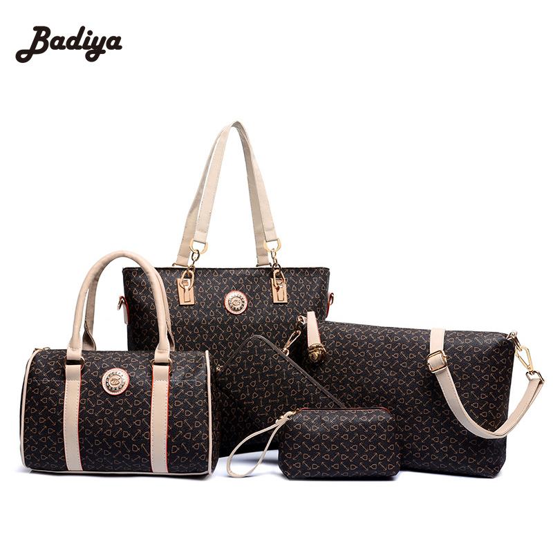 купить Soft PU Leather Bags Brand Designer Shoulder Bags For Woman Big Volume Female Lady Bags Set Fashion Coffee Color Handbags дешево