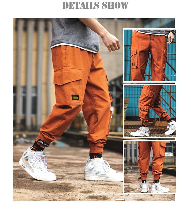 Calças Com Bolsos de Carga de laranja