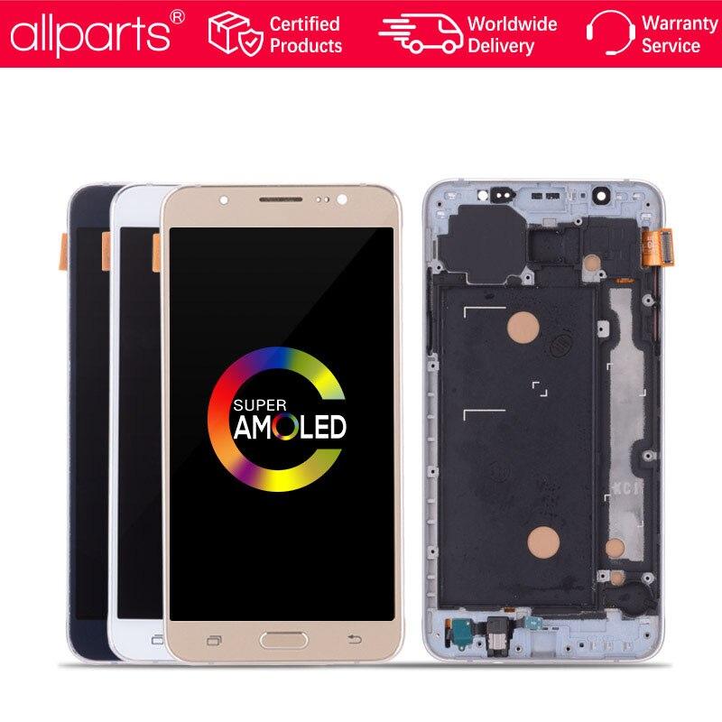 5.5 ''AMOLED Écran D'ORIGINE Pour SAMSUNG Galaxy J7 2016 LCD écran tactile Pour SAMSUNG J7 2016 Affichage LCD avec Cadre j710 J710F
