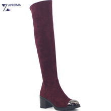Fashion 2018 Metal Toe Over the Knee Women Boots Stretch Fabric High Heel Shoes Black Wine Red Boot Block Heel Gothic Boots