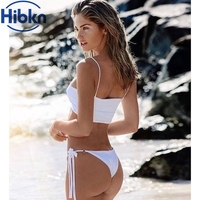 Solid Sport Bra Bikini Strappy Swimwear Bandage Swimsuit Solid Swim Suit For Women Sport Bathing Suit