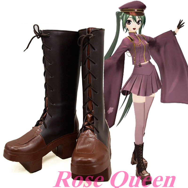 New Anime VOCALOID Hatsune Miku Senbonzakura Boots Cosplay costume shoes Custom Made Halloween Sandal Clogs Style
