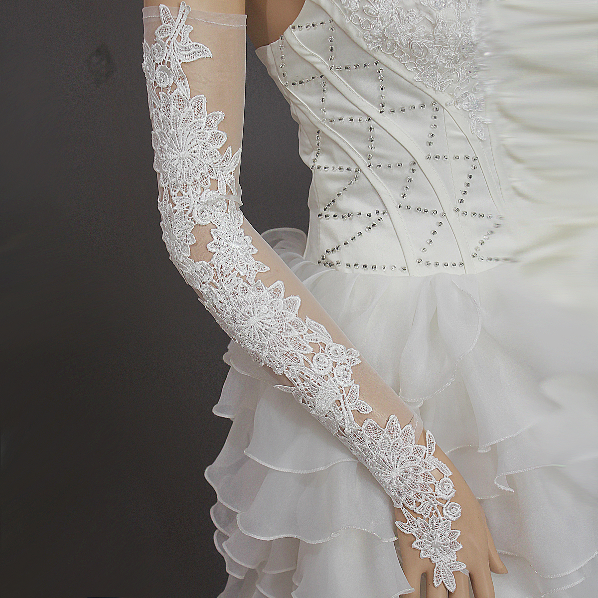 New Gorgeous Sexy White Lace Fingerless Gauze Wedding