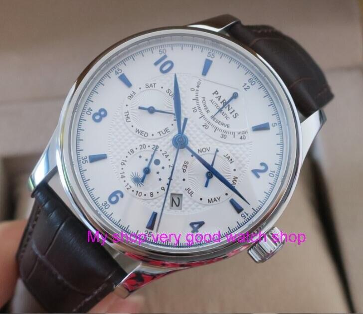 42 MM PARNIS 26 bijoux Japonais 9100 automatique Auto-Vent Mécanique montres cadran blanc Saphir Cristal hommes de montre 207