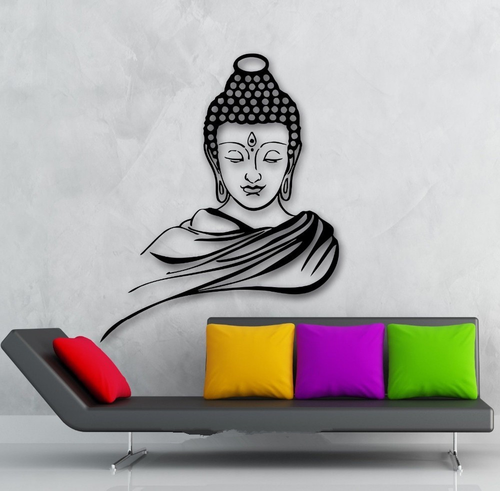 3d Poster Classic Religion Buddhism Buddha Meditation Wall Sticker Decal Vinyl Removable Wall Art Home Decor Muraux D648B