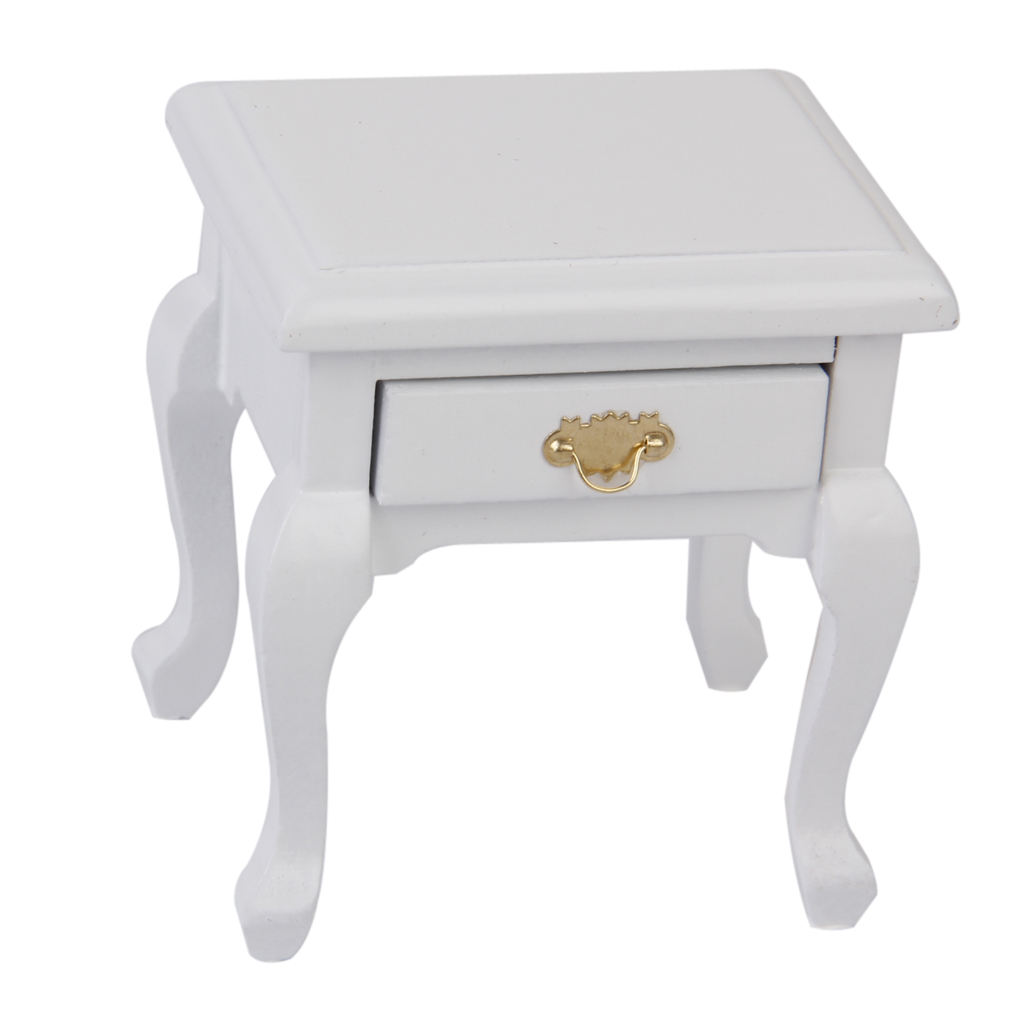 Durable 1 12 dollhouse miniature furniture wooden bedside cabinet white furniture toys modern bedside cabinet toys accessory