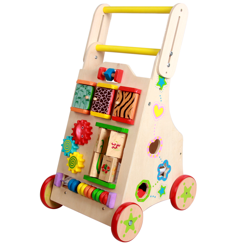 Wooden Baby Walker with lovely animal and fruit, speed can adjust baby walker for toddlers, multifunctional chest walkers