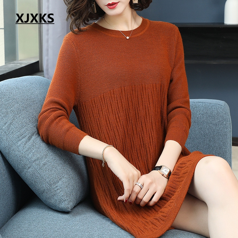 XJXKS new arrivals 2018 fall fashion designer sweaters knits women dress solid color streetwear woman pullover long sweater